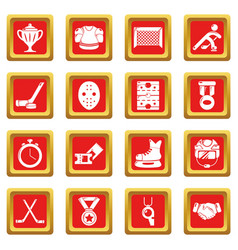 Hockey icons set red square vector