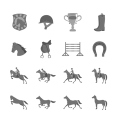 Horse with riders flat icons set vector