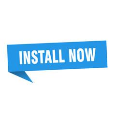 Install now banner install now speech bubble vector