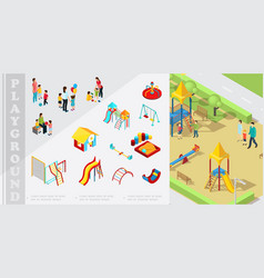 isometric kids playground elements composition vector image