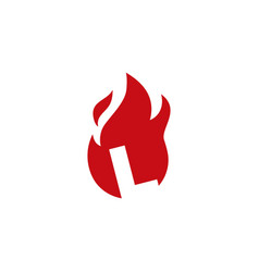 L letter fire flame logo icon vector