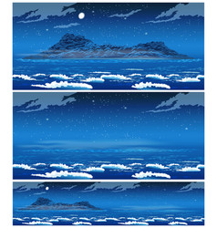landscape of the open sea with the island at night vector image