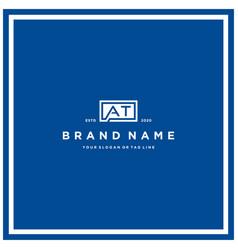 Letter at rectangle logo design vector