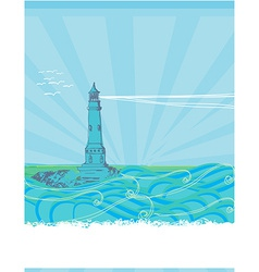 Lighthouse seen from a tiny beach - blue Poster vector