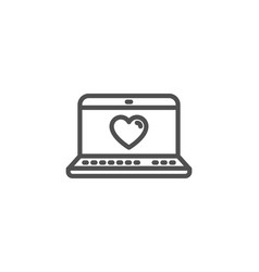 love dating line icon heart in notebook sign vector image