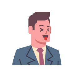Male show tongue emotion icon isolated avatar man vector
