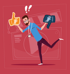 Man hold thumb up and down modern video blogger vector
