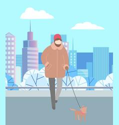 man walking dog on leash in winter city park vector image