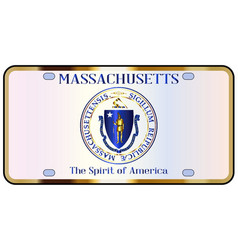 Massachusetts license plate flag vector