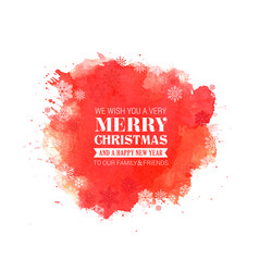 merry christmas and new year typographical on red vector image