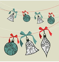 Merry Christmas decoration ribbon baubles vector