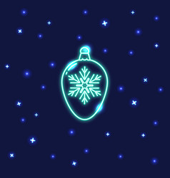 neon christmas bauble icon in line style vector image