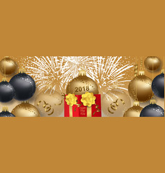 New year 2018 background with christmas gold vector