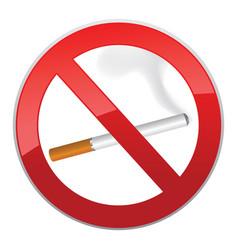 No smoking symbol inscription of cigarettes on vector
