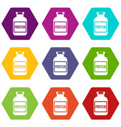 Nutritional supplement for athletes icon set color vector