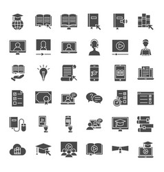 Online learning solid web icons vector