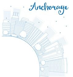 Outline anchorage alaska skyline vector