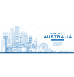 Outline welcome to australia skyline with blue vector