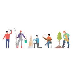 popular mens hobbies male characters set vector image