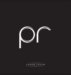 Pr initial letter split lowercase logo modern vector