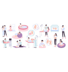 Pregnancy and childbirth flat icons vector