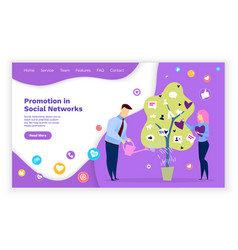 promotion in social networks specialists working vector image