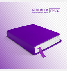 Realistic purple book with bookmark vector