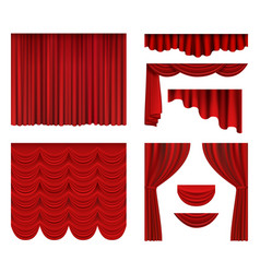 Red curtains theater fabric silk decoration for vector