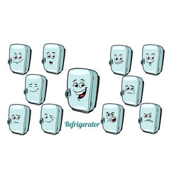 Refrigerator emotions emoticons set isolated on vector