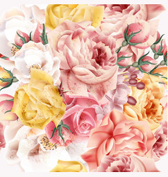 rose pattern with realistic pink and beige roses vector image