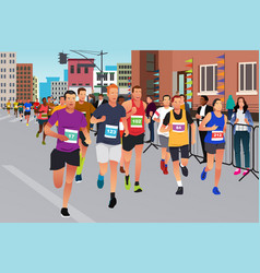 runners running in a marathon competition vector image