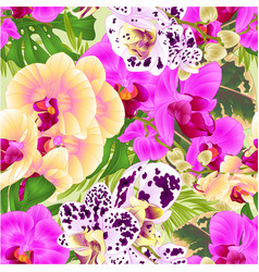 Seamless texture stem orchids yellow lila spotted vector