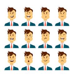 Set of male facial emotions bearded man emoji vector