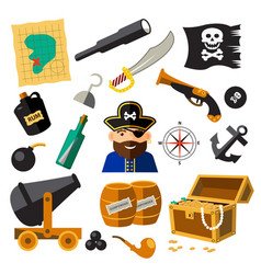 Set of pirate and sea elements vector