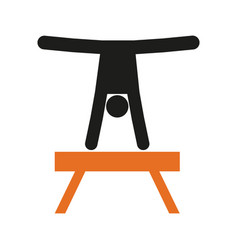 Simple pommel horse front hand stand sport figure vector