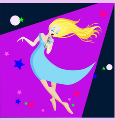 singing girl pop singer flat vector image