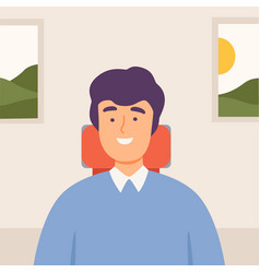 smiling man communicating online from home video vector image