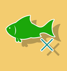 Sticker fish drawing seafood great for menu vector