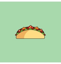 Tacos and burrito shaurma line icon vector image