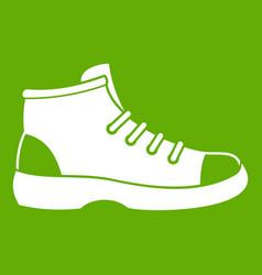tourist shoe icon green vector image