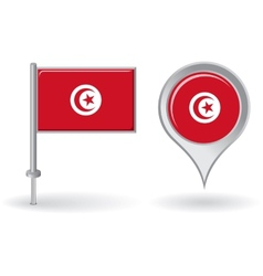 Tunisian pin icon and map pointer flag vector
