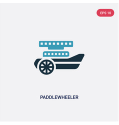 Two color paddlewheeler icon from transportation vector