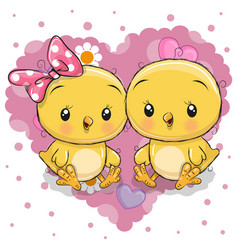 Two cute chicks on a background of heart vector