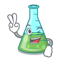 two finger science beaker character cartoon vector image