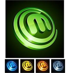 Vibrant 3d m letter vector image