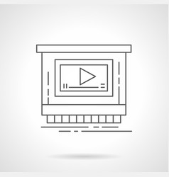 Video ads for promotion flat line icon vector