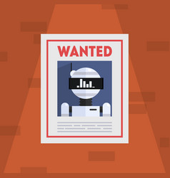 wanted robot criminal banner template cybercrime vector image