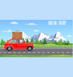 Web banner on the theme of road trip vector