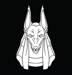 White drawing of god anubis on black background vector
