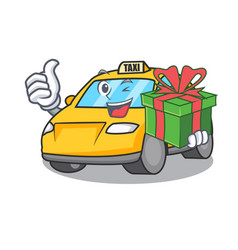 With gift taxi character mascot style vector